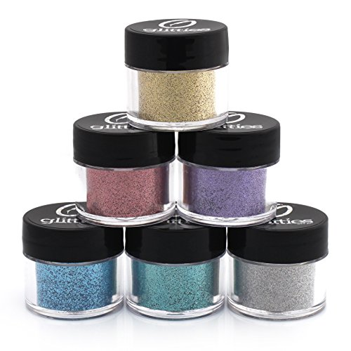 Holographic .008 Fine Glitter - 6 PK Loose Glitter Kit - Solvent Resistant and Great for Nail Art Polish, Gels, & Acrylics Supplies Glitter Made in the USA! (10 Gram Jars) (Resistant Enamel Nail)