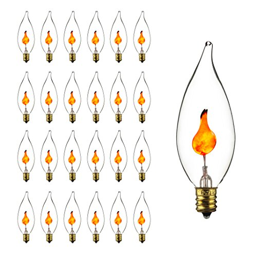 Sunlite 3CFC/25PK 3W Halloween Incandescent Chandelier Flickering Flame Light Bulbs with Candelabra E12 Base and Crystal Clear Bulb (25 Pack)