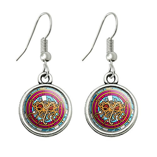 Meatballs And Spaghetti Costume (Flying Spaghetti Monster Stained Glass Novelty Dangling Drop Charm Earrings)