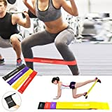 Resistance Loop Bands-MORECOO Exercise Bands for legs - Home& Gym Workout Bands for Yoga Fitness,Stretching and Physical Therapy- Includes Exercise Guides& Handy Carry Bag (Set of 4 pcs)