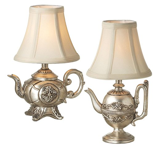 Diva At Home Set of 2 Antique Silver Teapot Table Top Mini Lamps with Shade 12
