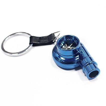 Muchkey - Llavero, diseño de turbina de coche, con sonido, Metal Blue