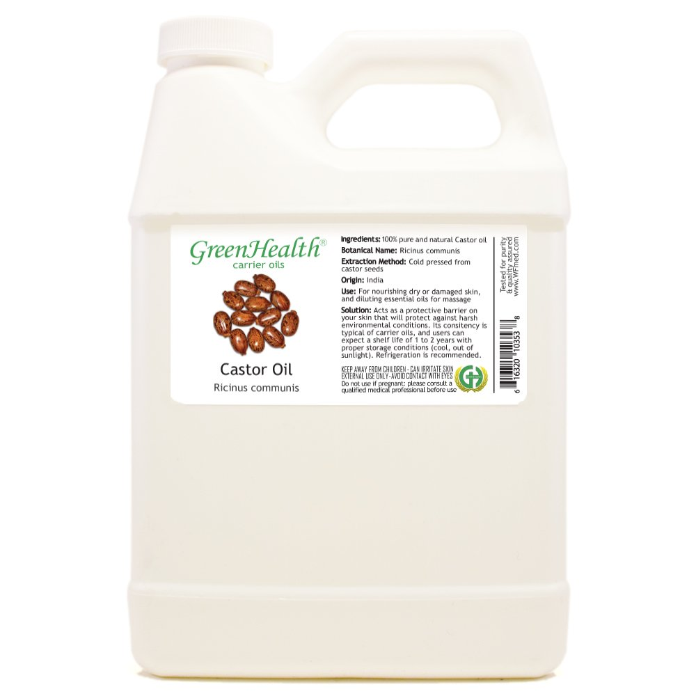 GreenHealth Castor - 32 fl oz (946 ml) Plastic Jug w/Cap - 100% Pure Carrier Oil
