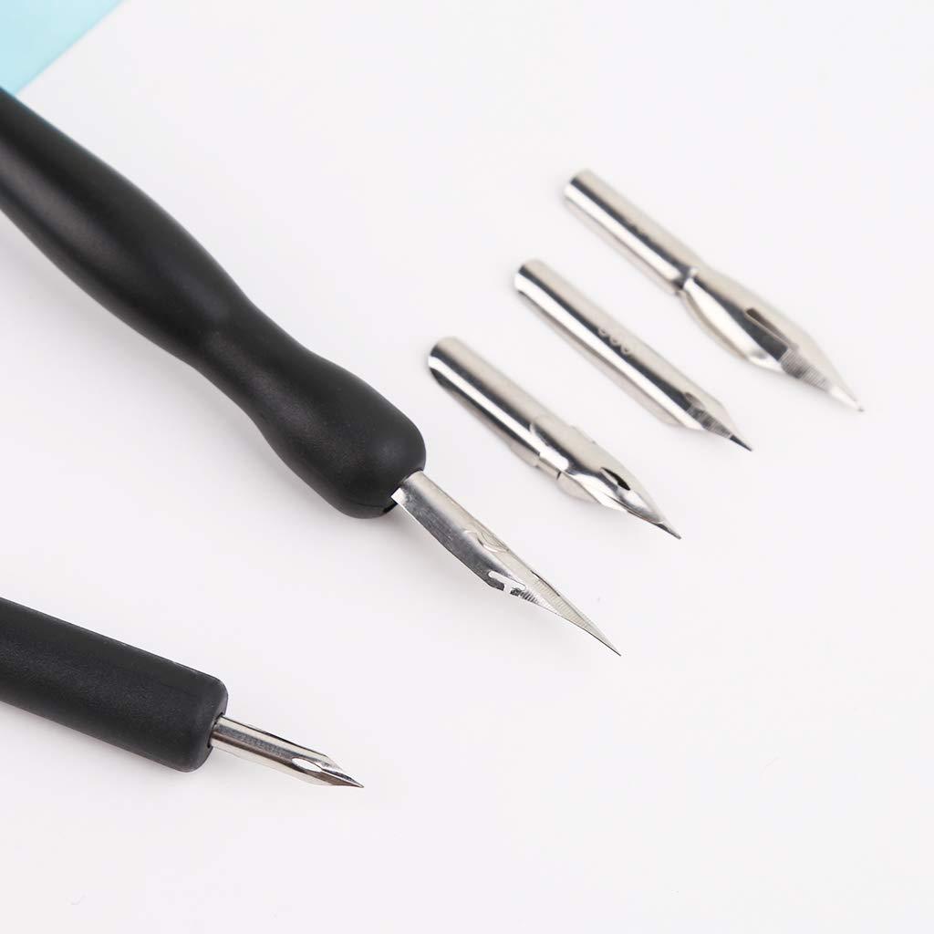 5 Pennini Nero Pittura Strumenti Kit Calligrafia Manga Dip Pen Holder Set Comic Disegno
