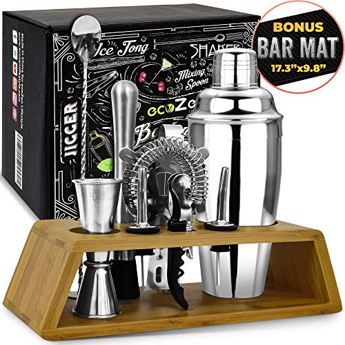 Bar Set Cocktail Shaker Set with Bonus Bar Mat (11 Pieces) | Bartender Tool Kit with Elegant Wooden Stand | Premium Cocktail Mixing Set | | Best Gifts Ideas for Him (Husband, Boyfriend, Friends, Dad