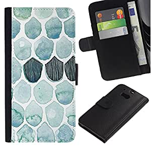 HTC One M8 Modelo colorido cuero carpeta tirón caso cubierta piel Holster Funda protección - Pattern Watercolor Teal Fish