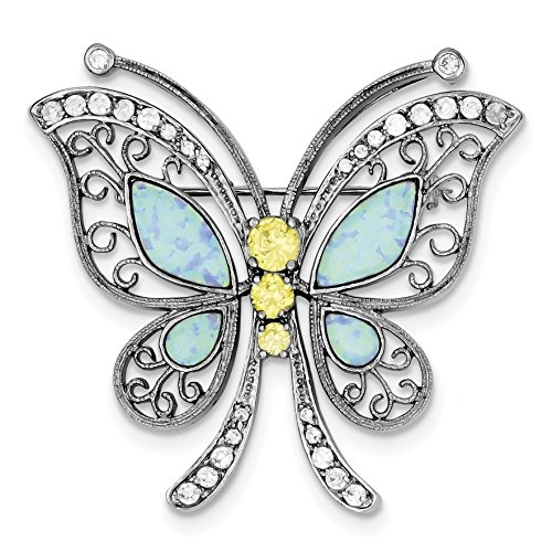 - 925 Sterling Silver Rhodium-plated Created Opal with Yellow and Clear CZ Butterfly Pin