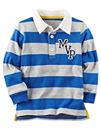 Carter's Boy Long‑Sleeve Rugby Striped Polo Shirt; Blue & Grey (9M)