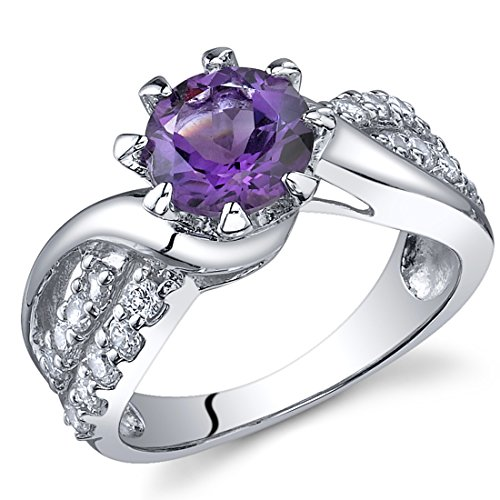 Regal Helix 1.25 carats Amethyst Ring in Sterling Silver Rhodium Nickel Finish Size 5