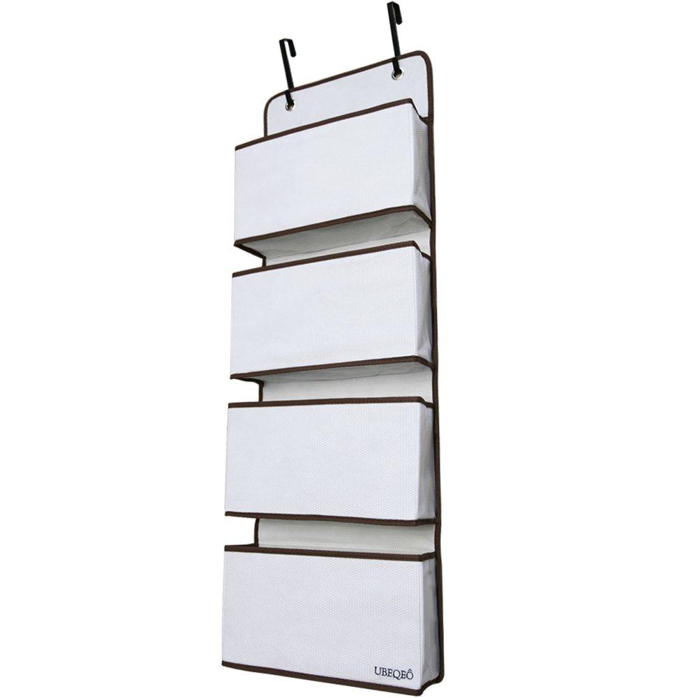 Large Hanging Pocket Organizer Over Door | Nursery Shelves Metal Hooks | Sturdy Fabric Wal| l 4 Storage Bag 40 Tall - BROWN UBEQEO 859577007000