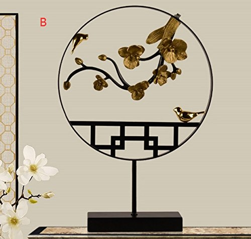 Chinese new iron ornaments modern minimalist Home Furnishing entrance TV cabinet office decor Zen study zj01241147 ( Color : A )