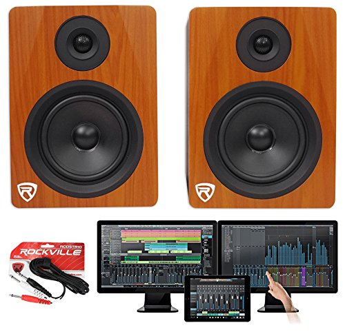 Package: Presonus Studio One 3.2 Professional Audio MIDI Recording DAW Full Software With iPad Integration + Powered USB Studio Monitor Speakers in Classic Wood Finish + TS Cable (S1 Processor Dual)