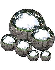 Romote Tuinspiegel bal,Roestvrij staal Gazing Ball Naadloze Gazing Globe Spiegel Gepolijst Holle Ball Reflecterende Tuin Sphere 6 Stks