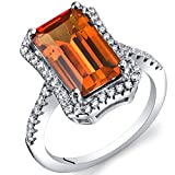 4.25 Carat Created Padparascha Sapphire Octagon Ring Sterling Silver Size 9