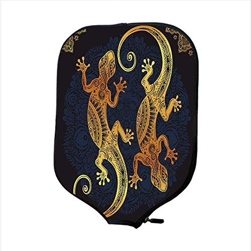 leball Paddle Racket Cover Case,Gold Mandala,Artistic Gecko Lizard Figures Boho Framework Tropical Henna Tattoo Style,Gold Dark Blue,Fit for Most Rackets - Protect Your Paddle ()