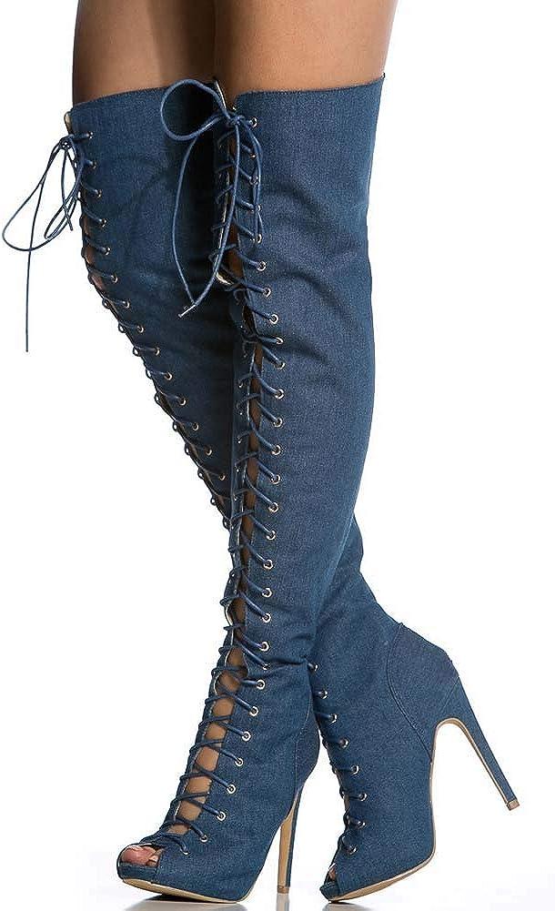 MKXF Stivali tacco alto sopra stivali al ginocchio Blue