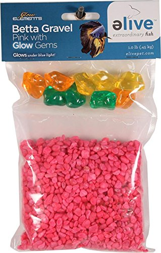 ELIVE 1057 034296 Betta Gravel with Glow Gems, Pink
