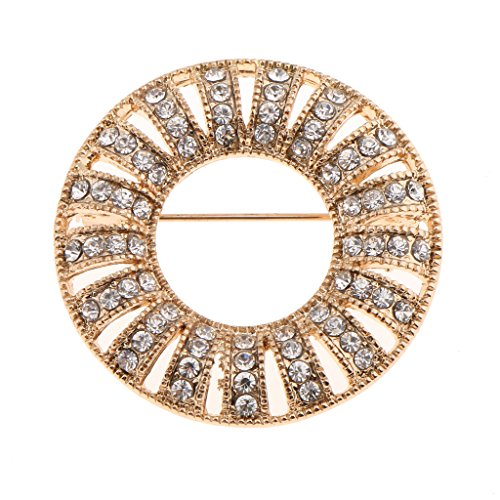 MonkeyJack Crystal Full Diamante Rhinestone Round Brooch Pin Wedding Party Breastpin - Gold