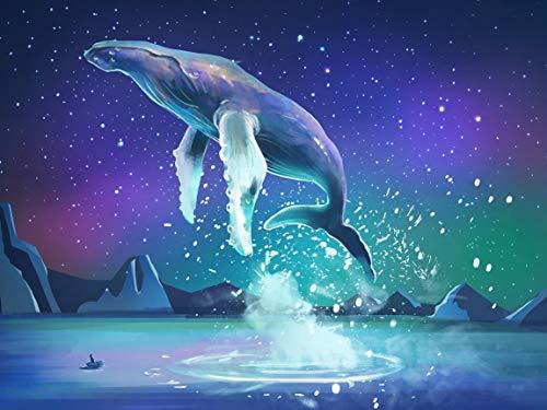 Staroar Round with AB Diamond Painting Kit Full Drill - Flying Whale 51X40 cm Art Craft Diamond Art