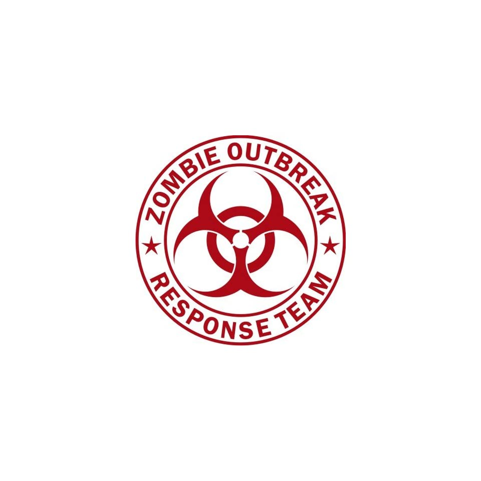 Large Zombie Outbreak Response Team  Red  Vinyl Decal Sticker