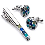 Men's Silver Polished Cufflink and Tie Clip Set in Gift Box -Personalized Men's Cufflink Gift Set