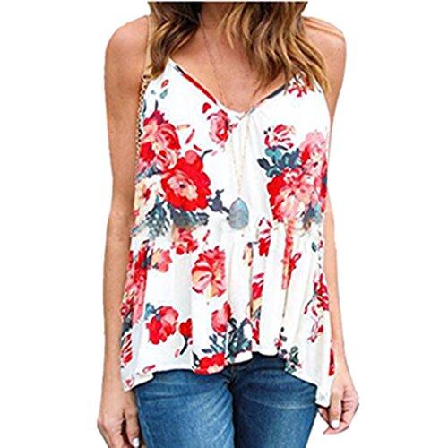 Clearance! E-Papaya Womens Floral Printed Summer Sleeveless Tank - Papaya Clothing