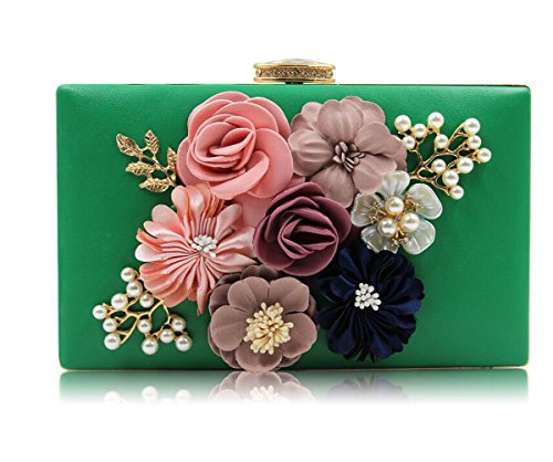 Women Wedding Green Handbags Purse Clutch Evening Bags Flower Clutches rwq6rgZx