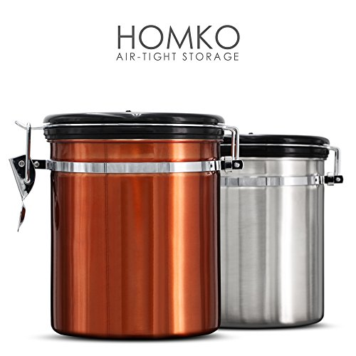 HOMKO Stainless Steel Coffee Container Airtight - Coffee Bean Container For Whole Beans Or Grounds - Vacuum Coffee Canister with co2 Valve (16oz, Copper) ()