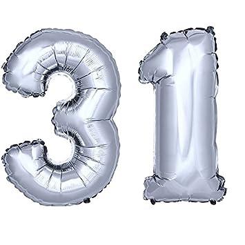 Folienballon Zahlenballon Geschenk Luftballon Geburtstag Silber 80cm Zahl 33