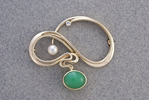 ART NOUVEAU homage brooch (Diamond Freshwater Brooch)