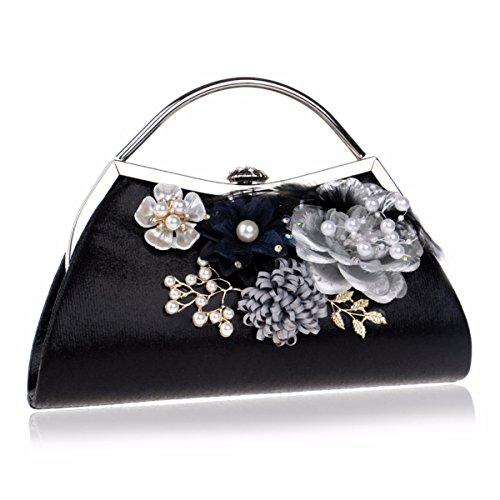 mujeres bolsos de hombro y la americana de XJTNLB Black de europea bolsa de moda las Plateado Flor P5wSqg8