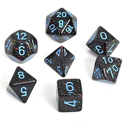 Polyhedral 7-Die Speckled Dice Set - Blue Stars
