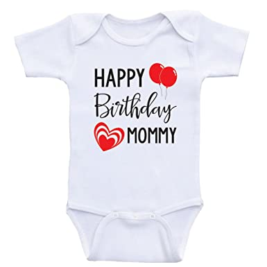 Amazon Heart Co Designs Moms Birthday Baby Clothes Happy Mommy Onesie Clothing