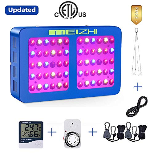 MEIZHI 300W LED Plants Growing Light Kits,Reflector Lamps Daisy Chain Full Spectrum for Hydroponic Indoor Greenhouse Tent Veg,FREE Plug Timer+Thermometer Humidity Monitor +1/8