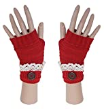 Red Winter Knit Fingerless Cuffed Gloves w/Lace, Button Trimmed Wrist Warmers