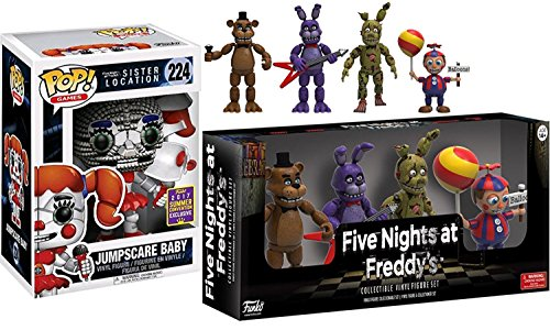 """Five Nights at Freddy's SDCC Convention #224 Jumpscare Baby Exclusive Vinyl Pop! & Five Nights at Freddy's Action Figures 2"""" 4-pk Bonnie / Freddy Bear / Springtrap & Balloon Boy"""