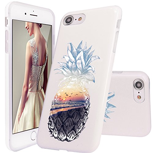 iPhone 7 Case,iPhone 8 Case,DOUJIAZ Sea Beach Pineapple Pattern Slim Shockproof Flexible Glossy TPU Soft Case Rubber Silicone Skin Cover for iPhone 7(2016)/iPhone 8(2017)