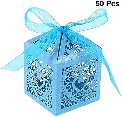 YeahiBaby Cajas de Caramelos Bombones Dulce Chocolate de Papel Cajas de Regalo para Fiesta Boda Decoraciones del Regalo de Cumpleaños Laser 50 Piezas Azul