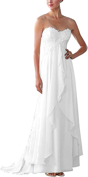 Ainidress Simple Chiffon A Line Bride Dresses Strapless Sweetheart Neckline Beach Wedding Dresses With Lace At Amazon Women S Clothing Store
