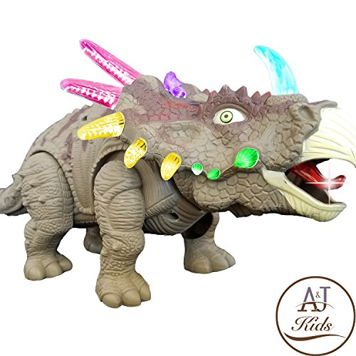 Walking Dinosaur Toys For Boys   Battery Operated Jurassic Dinosaur Kids Toy   Roaring  Walking  Tail Wagging  And Glowing   Perfect Toy Gift For Kids  Colors May Vary  Age 3    Triceratops