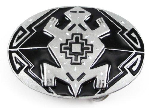 Pewter Belt Buckle - Indian Turtle (Diamond Cut) - Southwest Design (Enamel Pewter Belt Buckle)