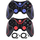 Kepisa Wireless Bluetooth Controllers For PS3 Playstation 3 Double Shock - Bundled with USB charge cord (BlackRed and BlackBlue)