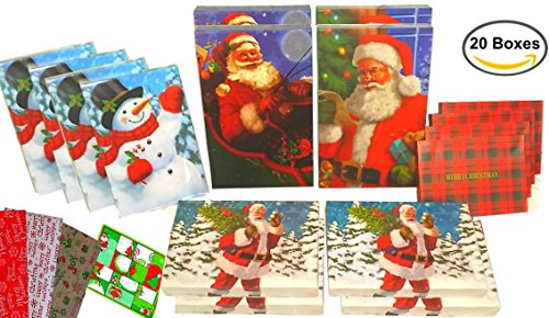 20 Pack of Santa-Themed Gift Boxes with Lids, Tissue Paper,