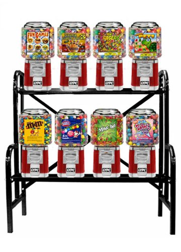 8 Classic Gumball Candy Machine Rack by Sold Exclusively by Gumball Machine Factory
