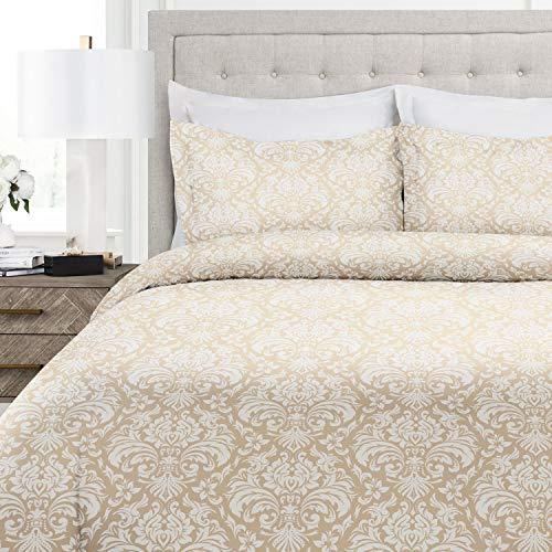 (Italian Luxury Damask Pattern Duvet Cover Set - 3-Piece Ultra Soft Double Brushed Microfiber Printed Cover with Shams - Full/Queen - Cream/White)