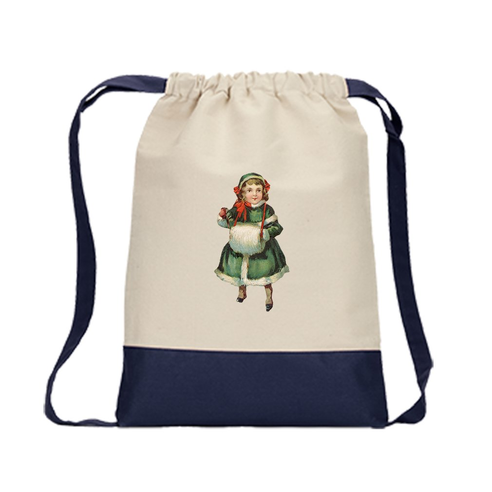Backpack Color Drawstring Girl In Green Coat Vintage Look #3 By Style In Print | Navy