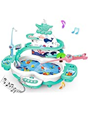 Magnetic Fishing Games Toys for Kids - 3 in 1 Premium Version Electric Fishing Toys for Toddlers with Songs Story & Animal Sounds - Toddler Preschool Learning Toys for 3 4 5 6 Year Old Girls Boys