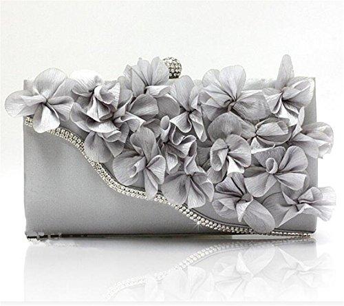 ISHOW Ladies Rhinestone gasa flor Metal Cluth Envelope Bolsos Monederos plata