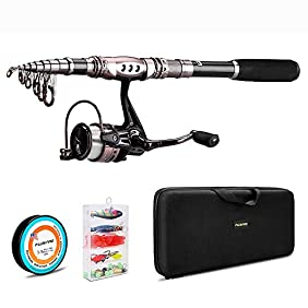 PLUSINNO Spinning Rod and Reel Combos FULL KIT Telescopic Fishing Rod Pole with Reel Line Lures Hooks Fishing Carrier Bag Case and Accessories Fishing Gear Organizer ... ...