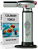 Kyпить BEST CULINARY TORCH - Chef Torch for Cooking Crème Brulee - Aluminum Hand Butane Kitchen Torch – Blow Torch with Adjustable Flame – Cooking Torch – Perfect for Baking, BBQs, and Crafts + Recipe e-Book на Amazon.com